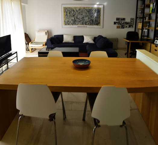 Open plan living-dining room and kitchen