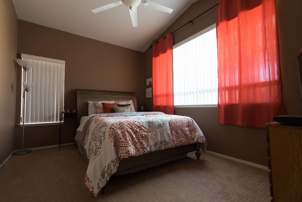 Personalize your comfort by controlling the ceiling fan and lighting with your own remote. Big windows let in a lot of light.