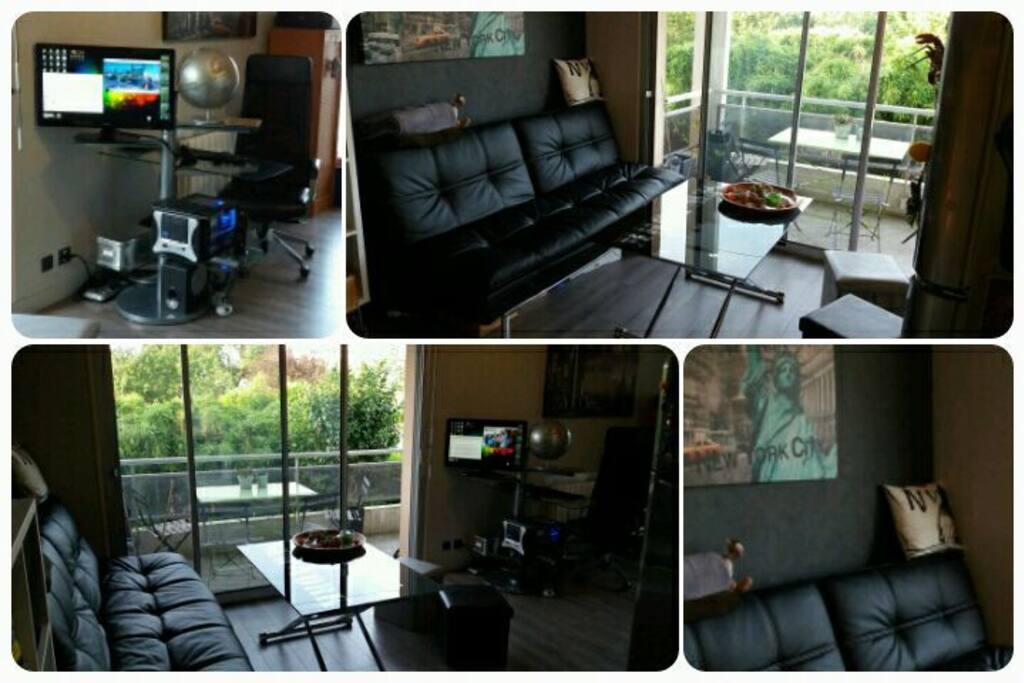 Coin salon / salle à manger cosy et équipé niveau multimédia...