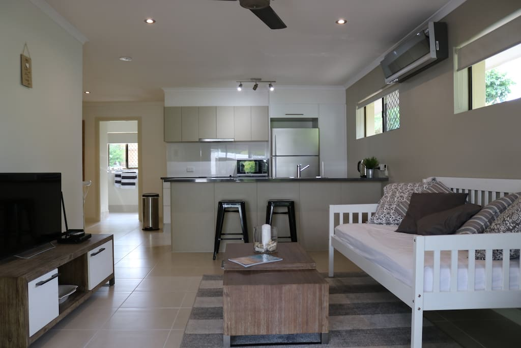 Open plan kitchen & living area
