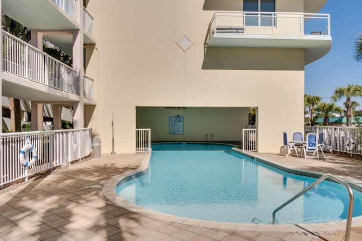 Heated pool located in the Destin West Villa building on the Gulf side.