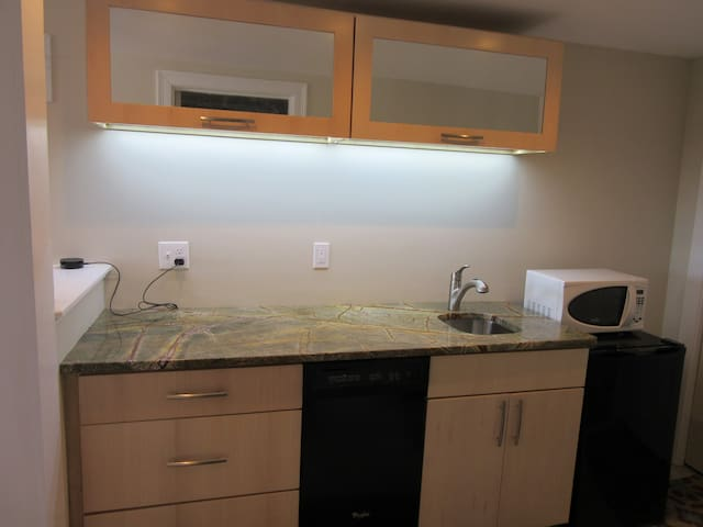 Kitchenette with dishwasher, fridge, sink and microwave.