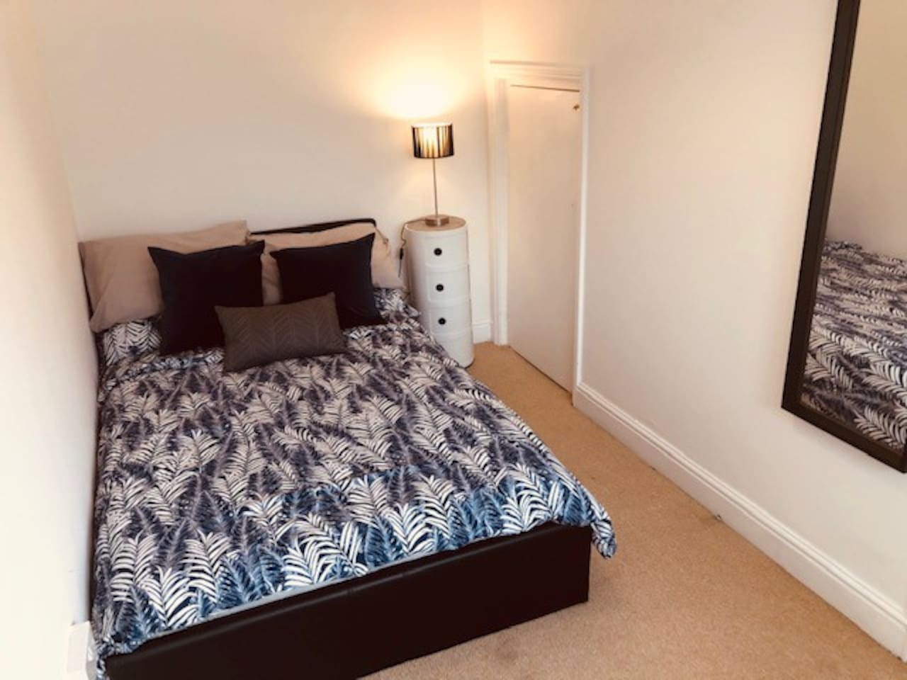 Bright clean room with fresh bedding