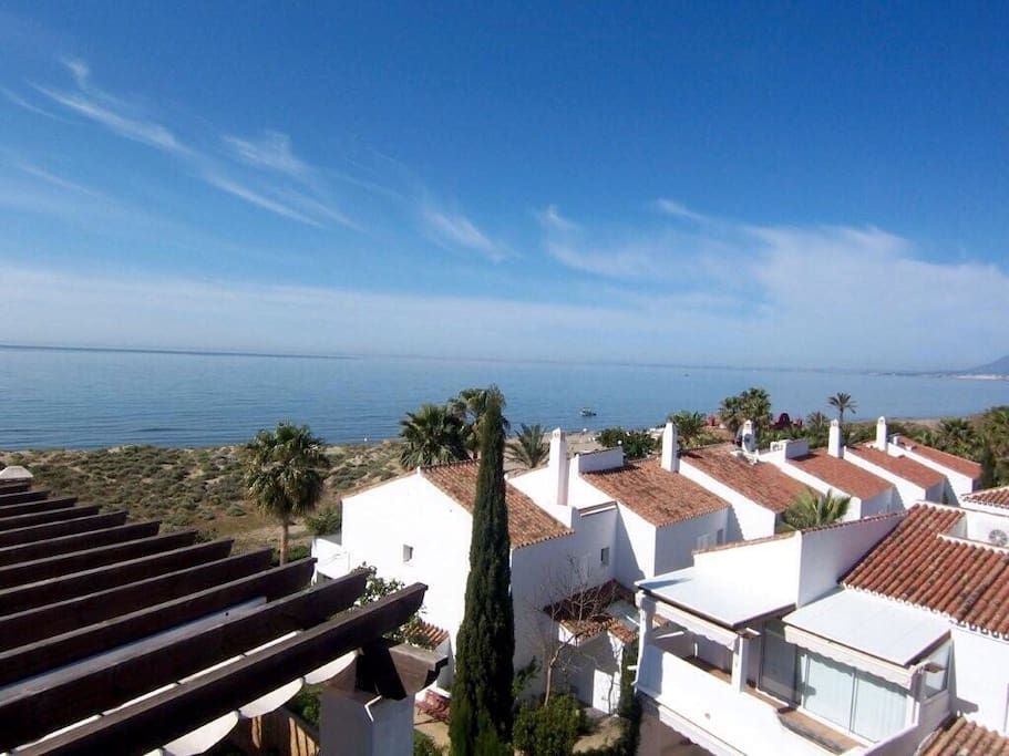View from upper terrace and the best beaches in whole of the Costa del sol views to Marbella Puerto Banus & beyond  watch the lights twinkling in the evening as it comes alive for 10 hours of party people