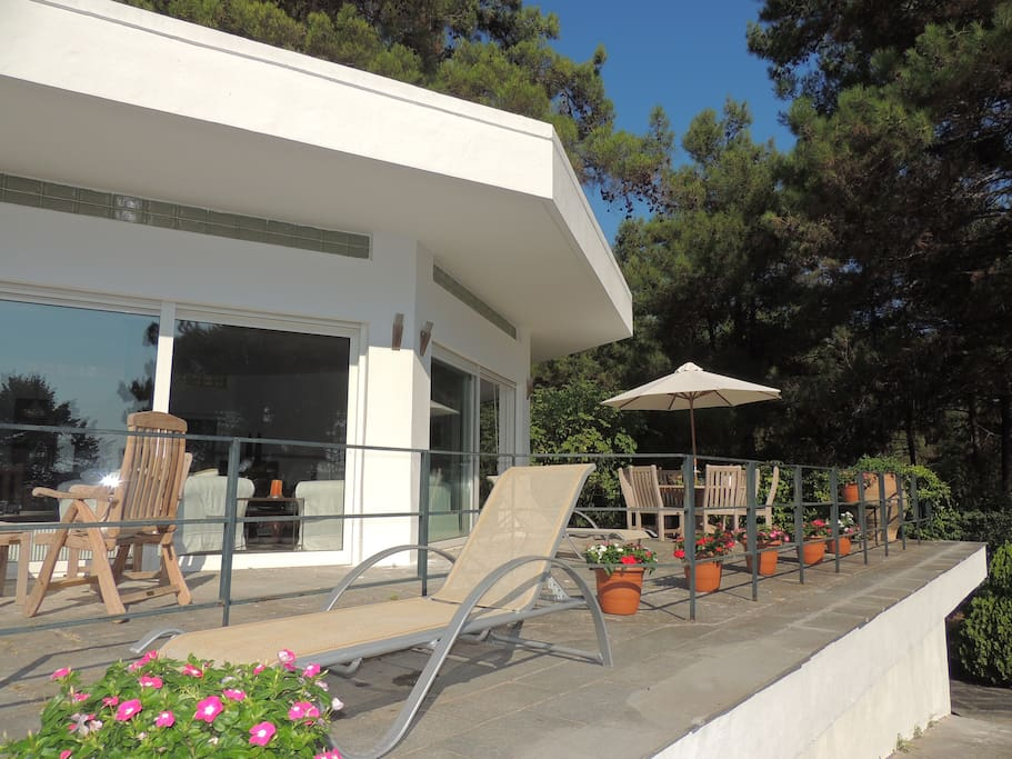 Terrace with comfortable garden furniture