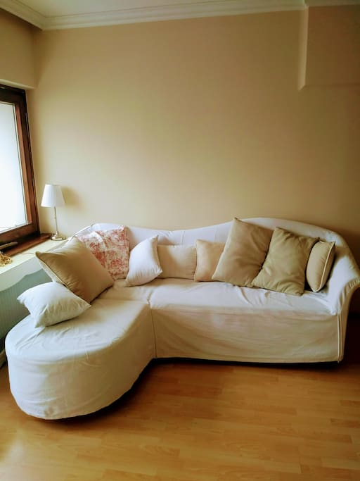 This couch can be extended for 2 persons. It is in the quiet and cozy living room.