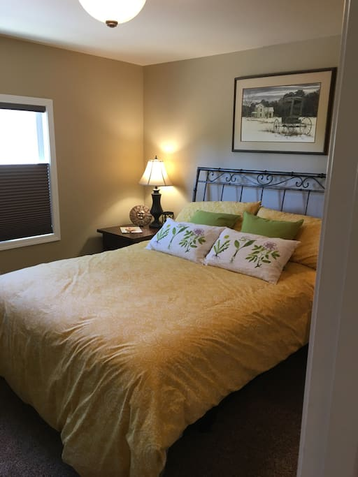 Your beautiful bedroom where you will get a wonderful night of sleep or a afternoon nap.  The view is spectacular and there are room darkening shades too