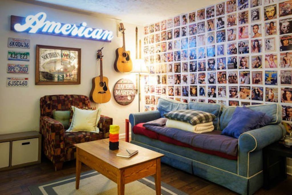 Main shared living area complete with Rolling Stone wall of fame.