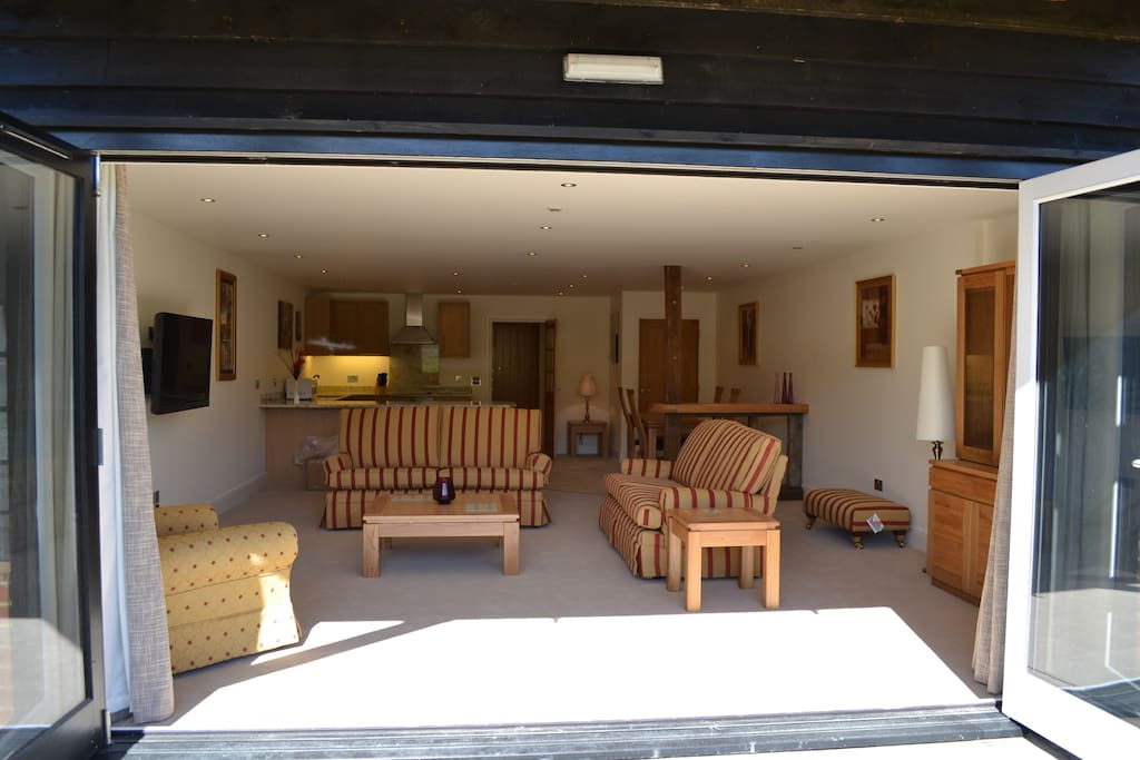 Inside the Chelmer -Executive Double downstairs. Large bi-fold doors.