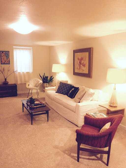 Living room with large comfy couch.