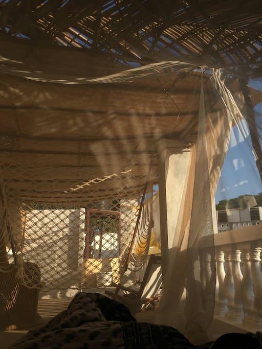 Bohemian Terrace Beach Rooms. Hammocks,  Massage Beds,  Shisha and Café