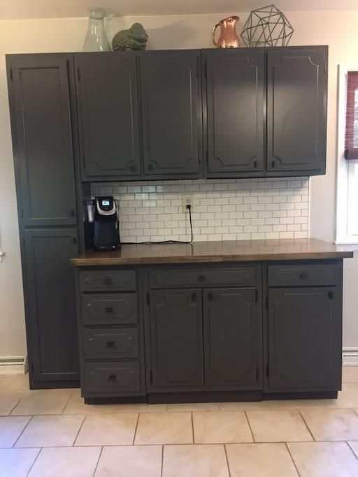 Drink a hot cup of coffee or tea in the newly remodeled kitchen.