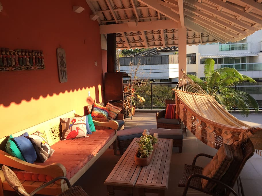 Our beautiful deck! Sip a caipirinha as the sun sets, or lounge in the oversized hammock!