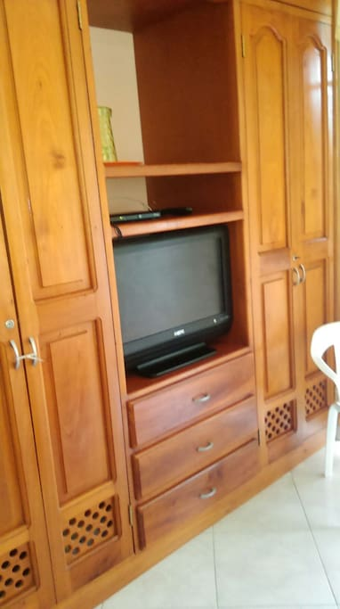 The tv and closet
