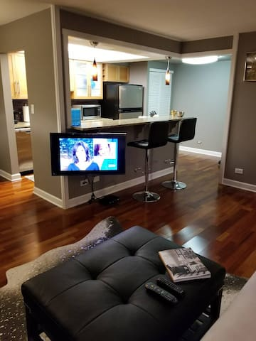 "40"" flat screen smart living room TV"