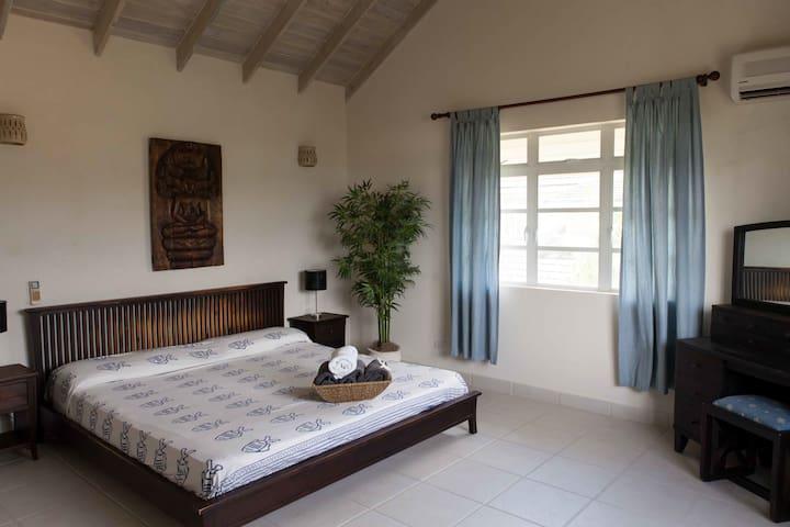 Upstairs Master bedroom with en-suite bathroom and walk- in wardrobe, very spacious room!
