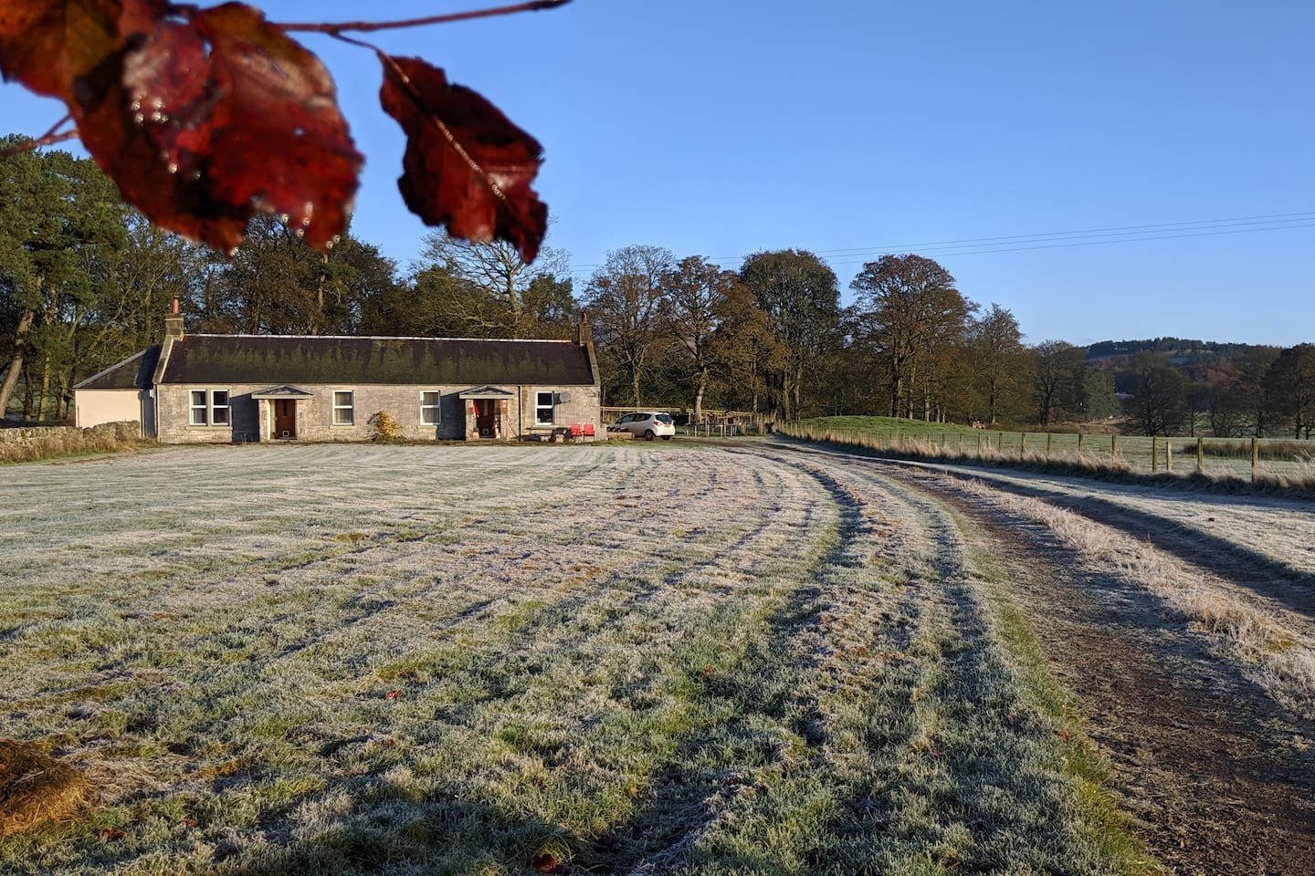A cold and frosty morning   (Shepherd's Cottage is the left hand side cottage of the two)