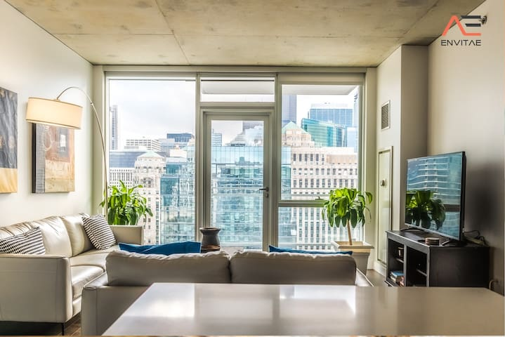 FREE PARKING IN BUILDING | 2BR/2BA Brand New Executive Luxury Suite w/ Rooftop Pool, Gym and Balcony by ENVITAE