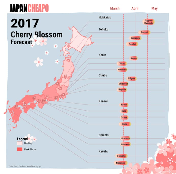 If you are willing to make it a day trip you can find Sakura from March until May! We know the best spots...