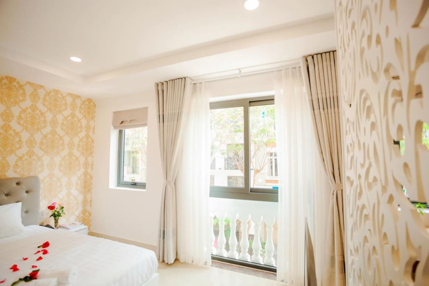 Bedroom with nice street view