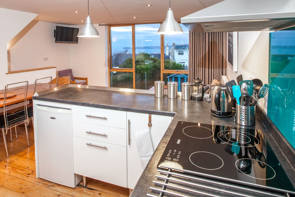 Well equipped kitchen with the best views for the cook!