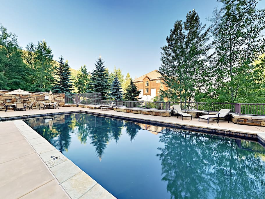 Guests have access to a pristine shared pool area.