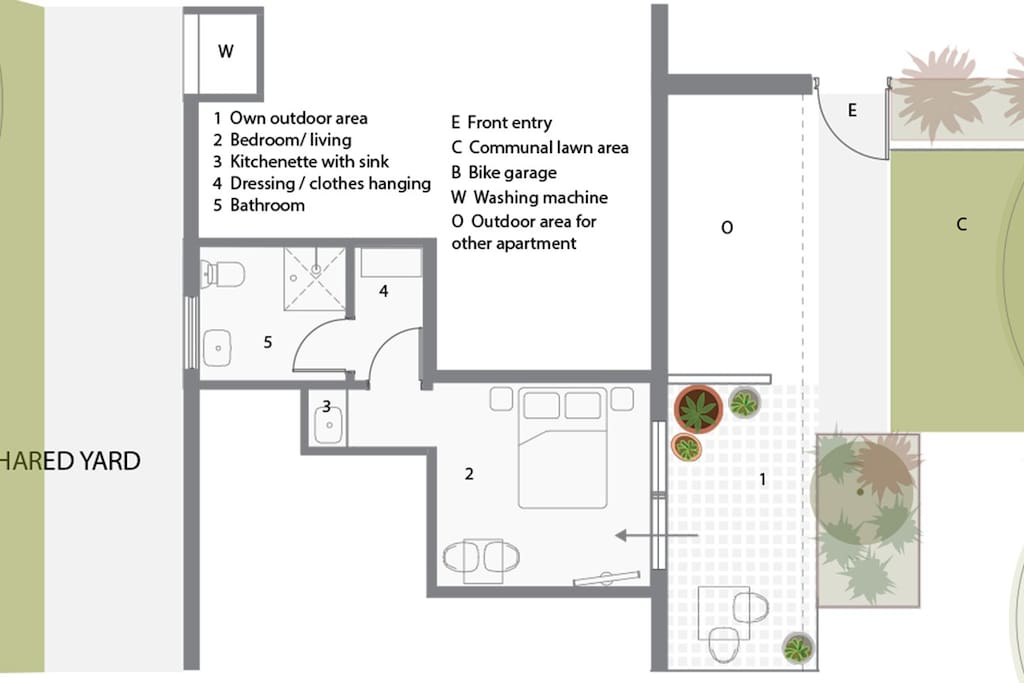 Floor plan showing your areas, including outdoor and access