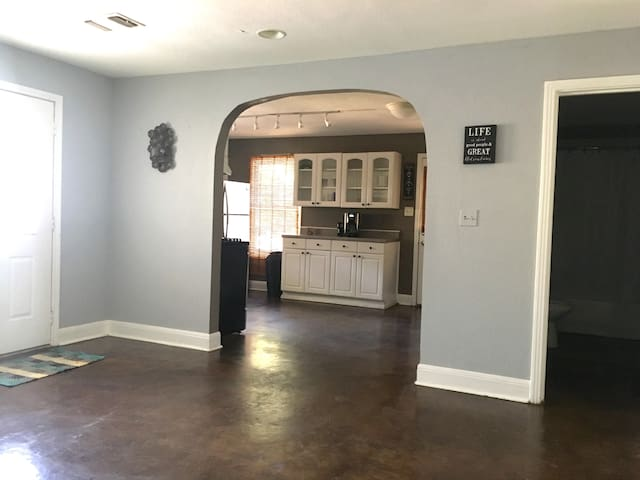 Open concept... Stained concrete floors!