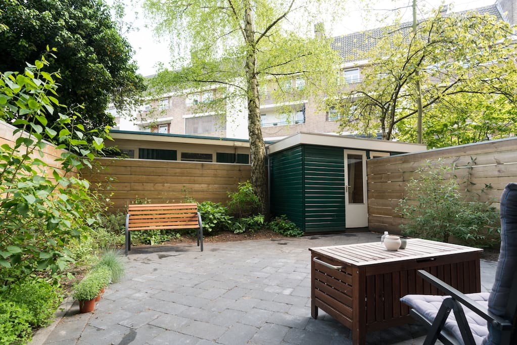 PRIVATE GARDEN:  Very green space. different plants and flowers depending on the season