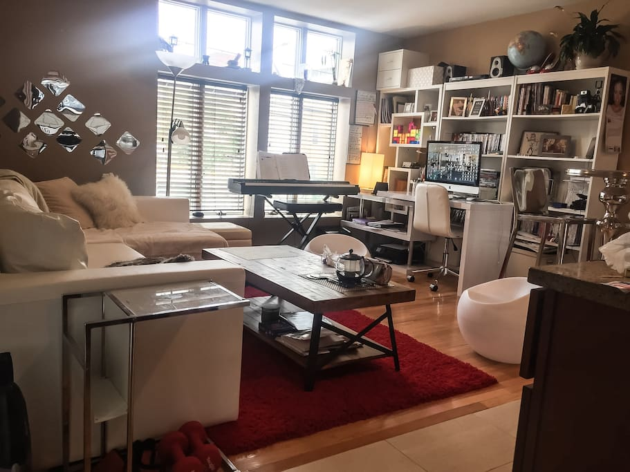 living room and work space