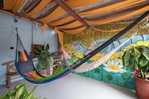 Enjoy the weather in the shade and relax on a hammock