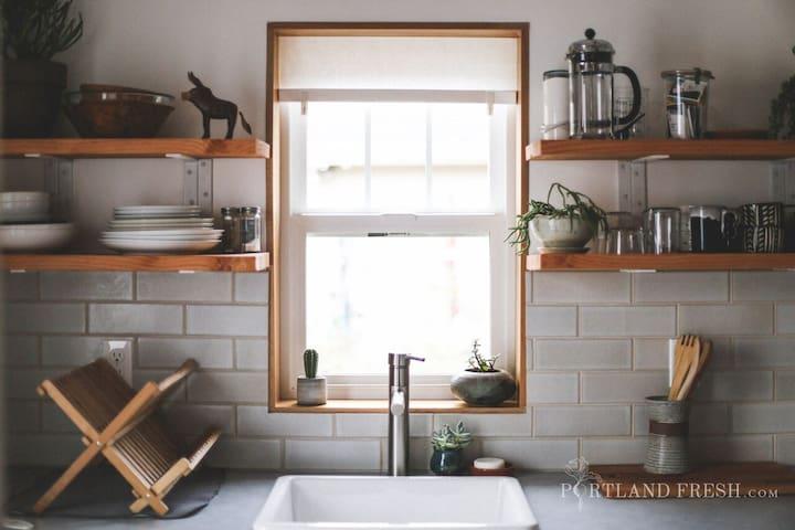 Tiny House kitchenette. Photo by Christiann Koepke with Portland Fresh.
