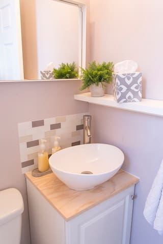 Bathroom detail with a few of our amenities