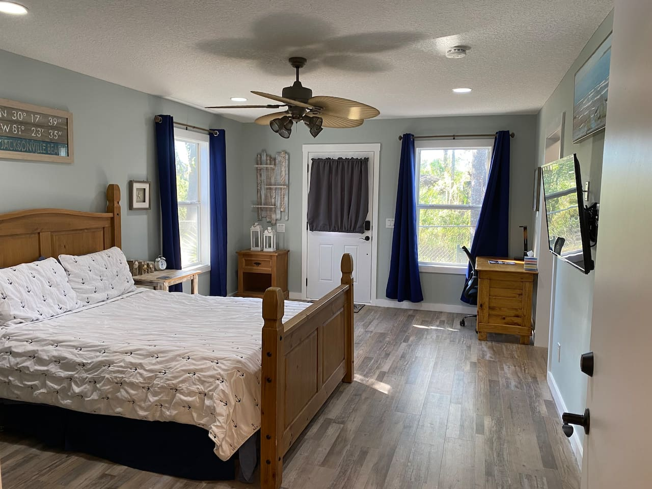 Get ready to unwind in a coastal guest bedroom! I put a lot of thought in when designing this room and I think it'll be perfect for just about every guest!