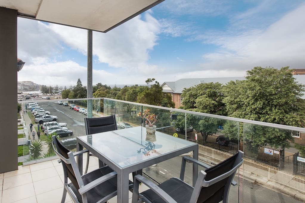 Balcony off living area with view of Bondi Beach and Baby Webber BBQ