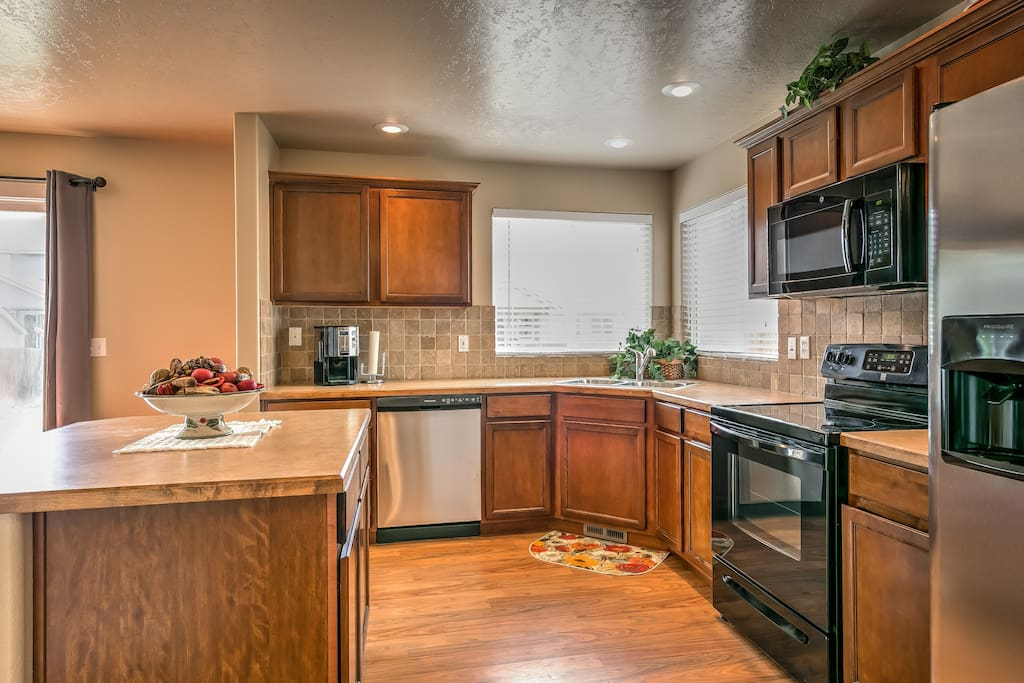 Take advantage of the spacious, fully equipped kitchen for home cooking.