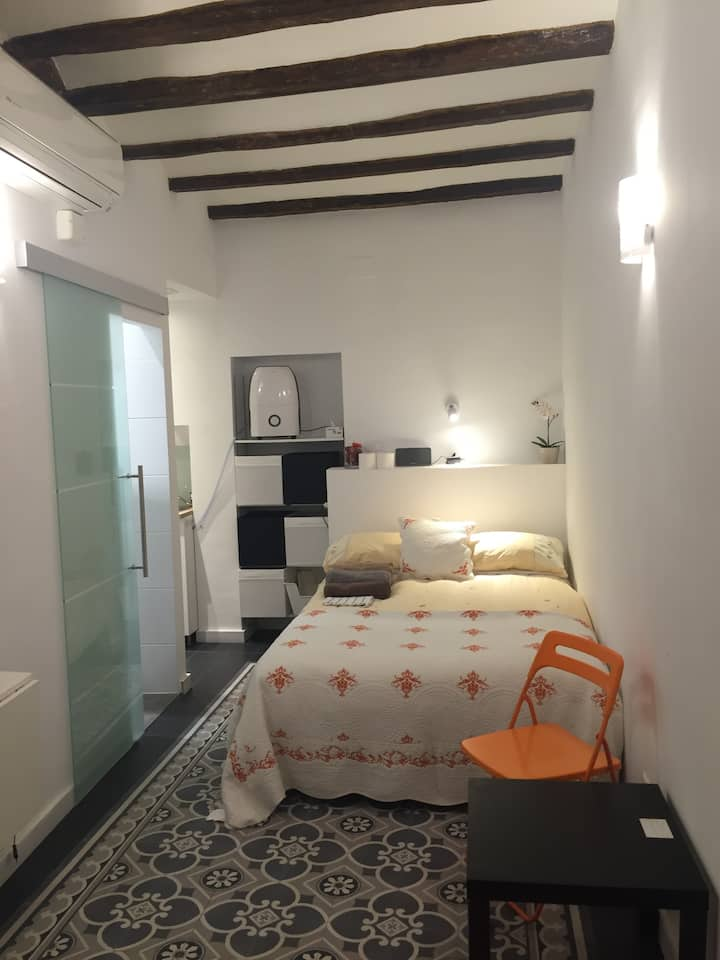 private studio & bathroom, terrace by Placa Reial