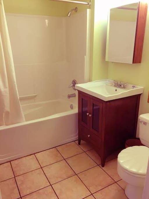 Bathroom is potentially shared with one other guest, but usually private. Shower, bath, large sink.