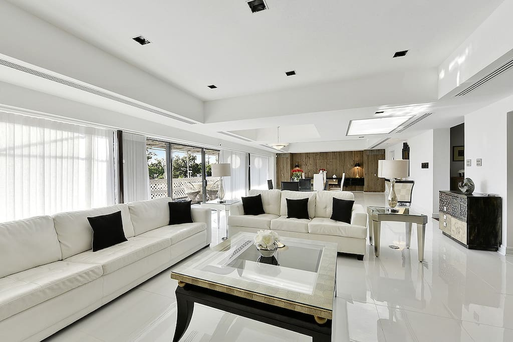 Modern white floors and Sky lights