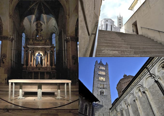 Some details of the main Cathedral of Massa Marittima