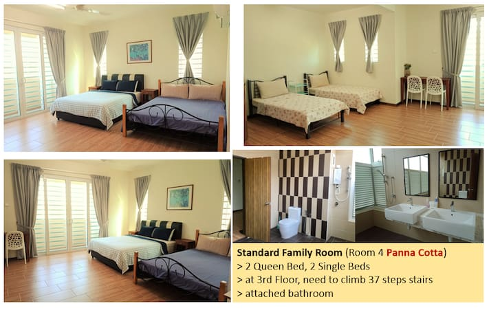 Room 4 (3rd floor, 37 steps stairs) : 2 Queen beds, 2 Single beds, attached bathroom