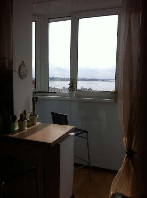 Вид из окон на финский залив, стадион и башню газпром.