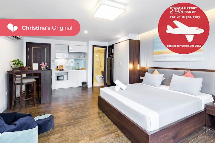 FREE Airport pick-up ✪ Studio ✪ King sized bed |12