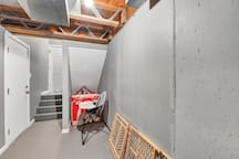 Basement: Private, attached garage with opener; high-chair; 2 cribs/playpens; baby-gates; stroller; baby monitor; children's dinnerware; baby bath; table and fireplace guards; the rear-entry door has lockbox and deadbolt
