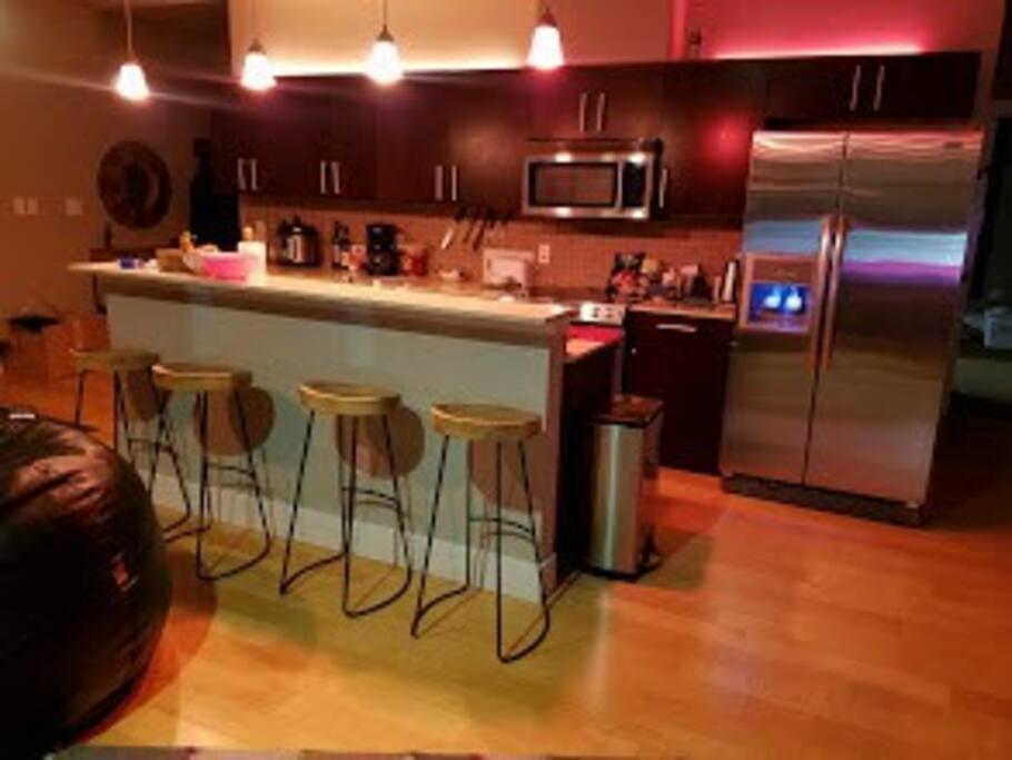 Kitchen w/large fridge