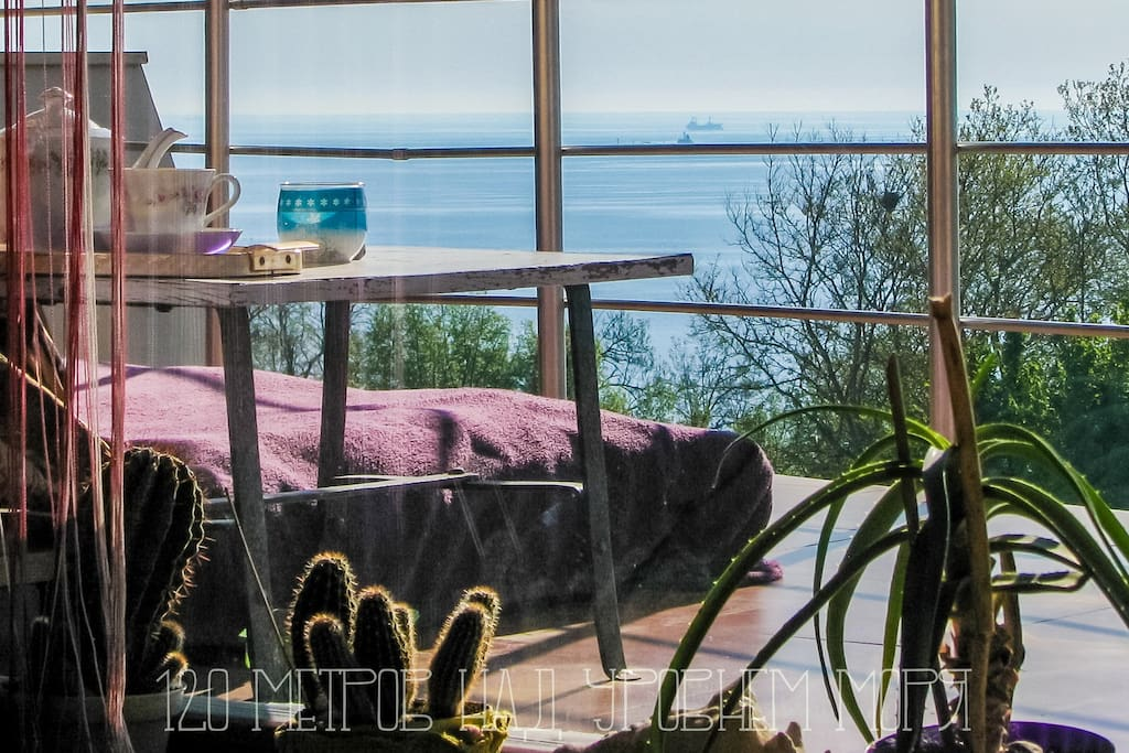 Вид из окна Арт - студии на террасу море и небо View from the Art Studio on the sea and sky terrace