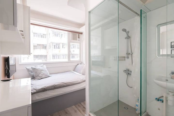 Please feel free to ask questions.  By the way, the shower area has a blind to cover up so you have privacy.