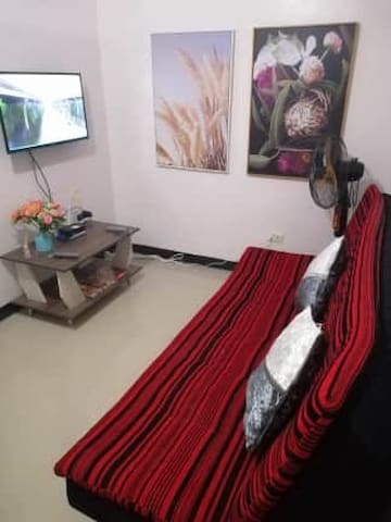 """Living Room with 32"""" LED TV with Sky Cable Connection, Fiber Optics Wi-Fi Connection and Sofa Bed"""