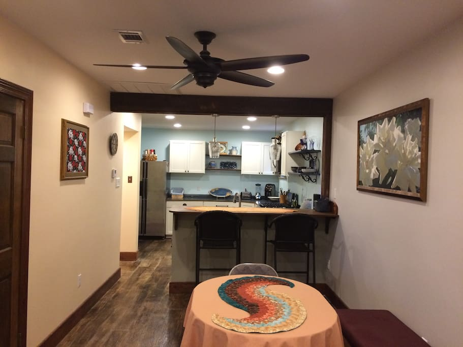 Dining area, breakfast bar and into kitchen