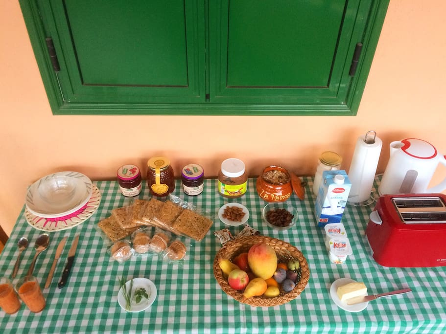 Energetic breakfast for additional small price (herbs + fruits + fresh juice from the organic garden) with tea, coffee, bread, muesli, muffins, jams, honey, chocolate spread, butter, almonds